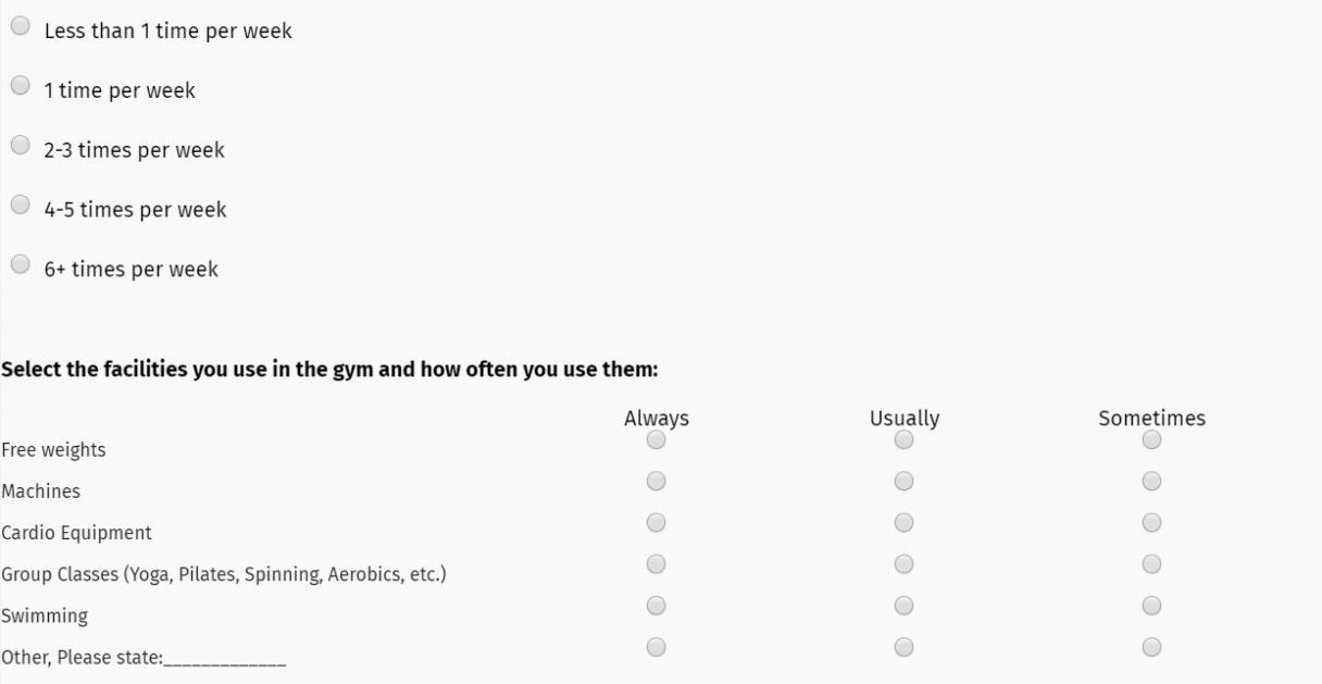 Fitness goal assessment survey