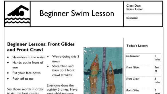 Perfect Gym Swim School lesson plan template example
