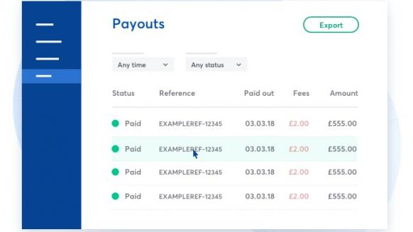 Perfect gym screenshot of gocardless payments breakdown