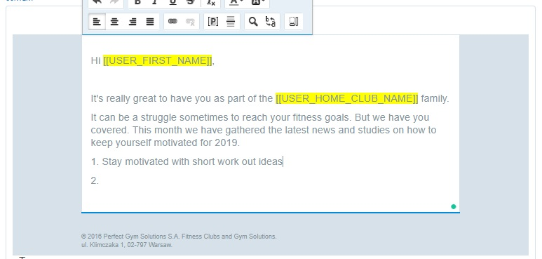 Using tags in fitness emails
