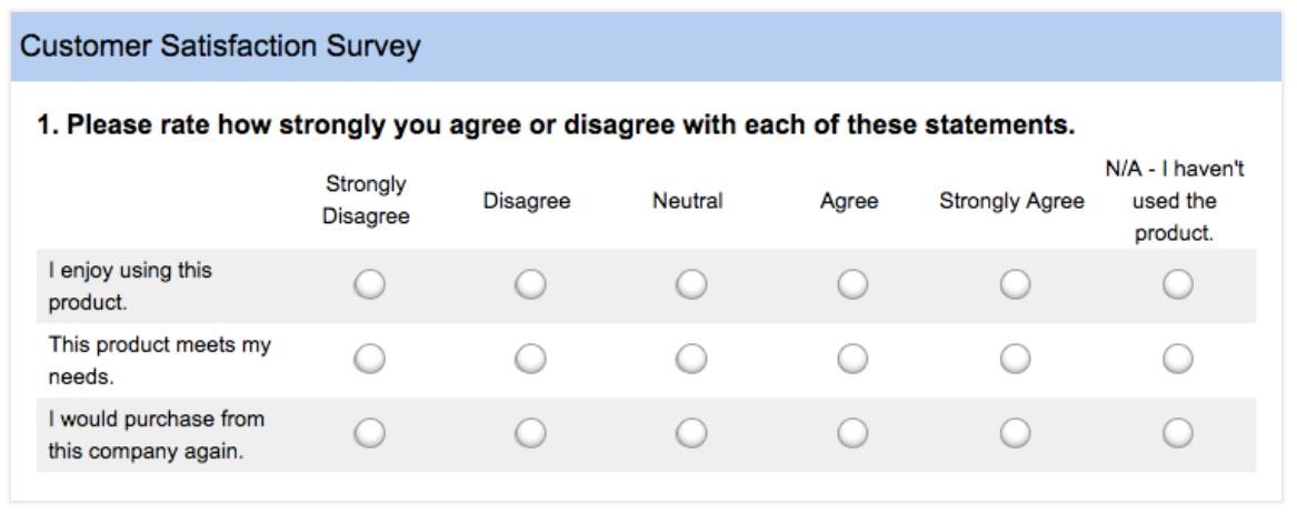 Example customer satisfaction survey